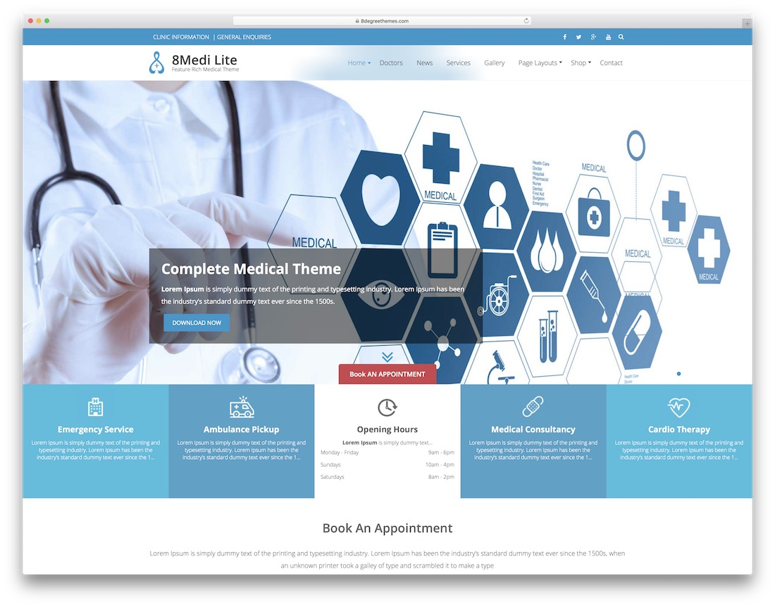 eight medi lite free medical website template