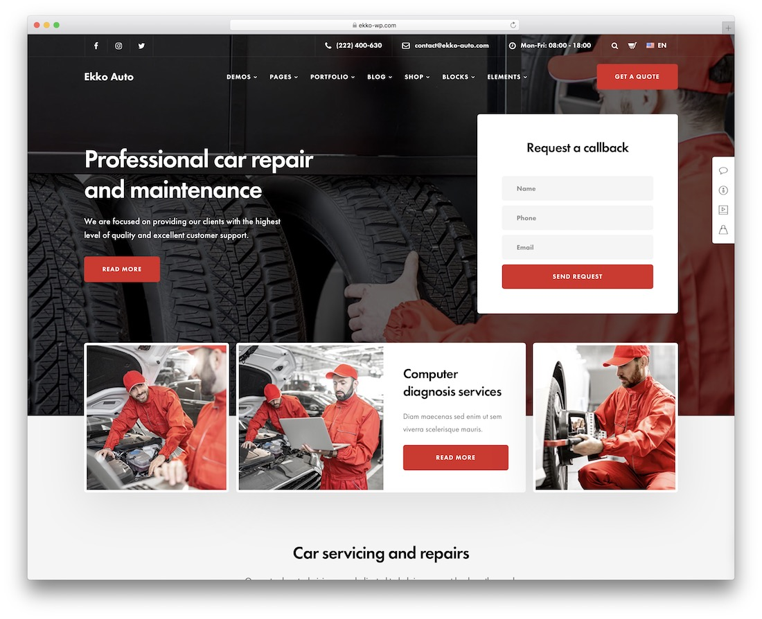 ekko auto service wordpress theme