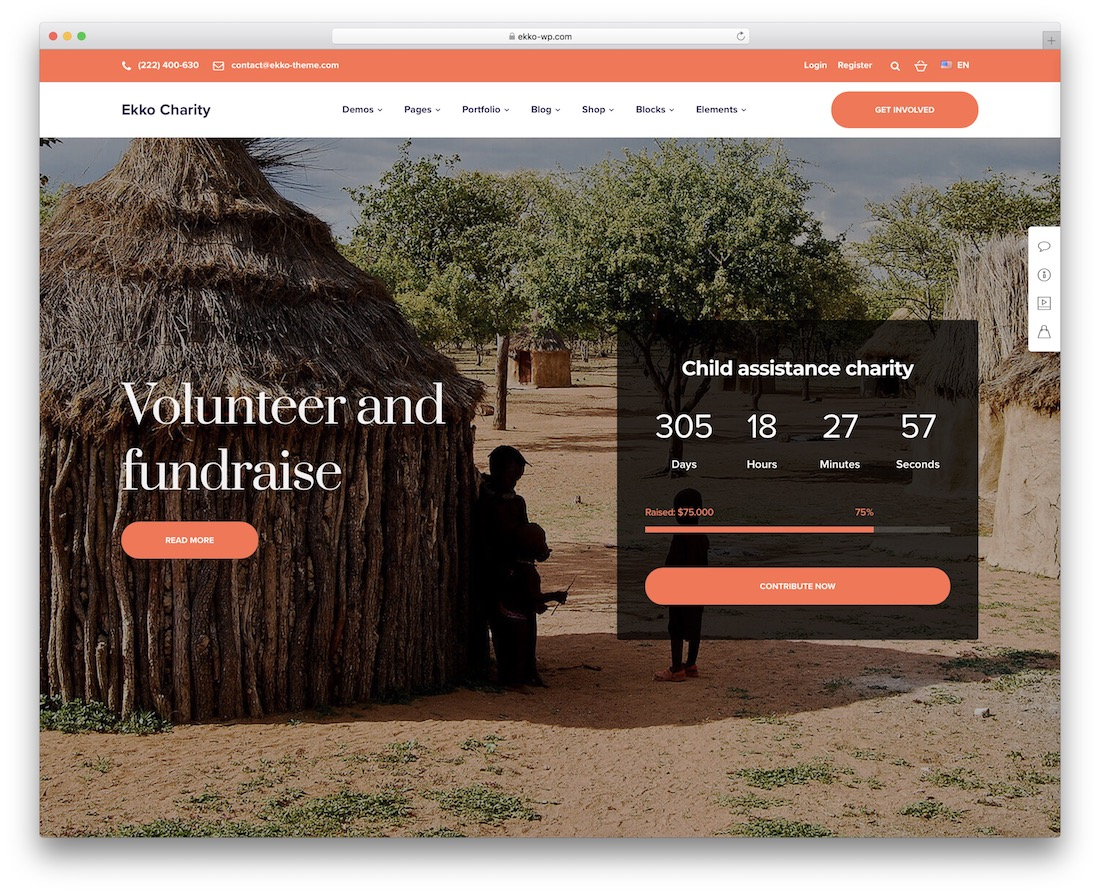 ekko charity wordpress theme