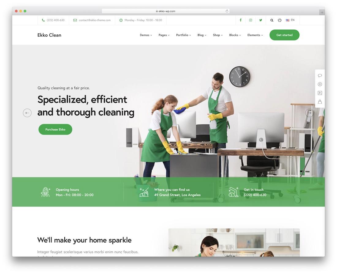 ekko cleaning company wordpress theme