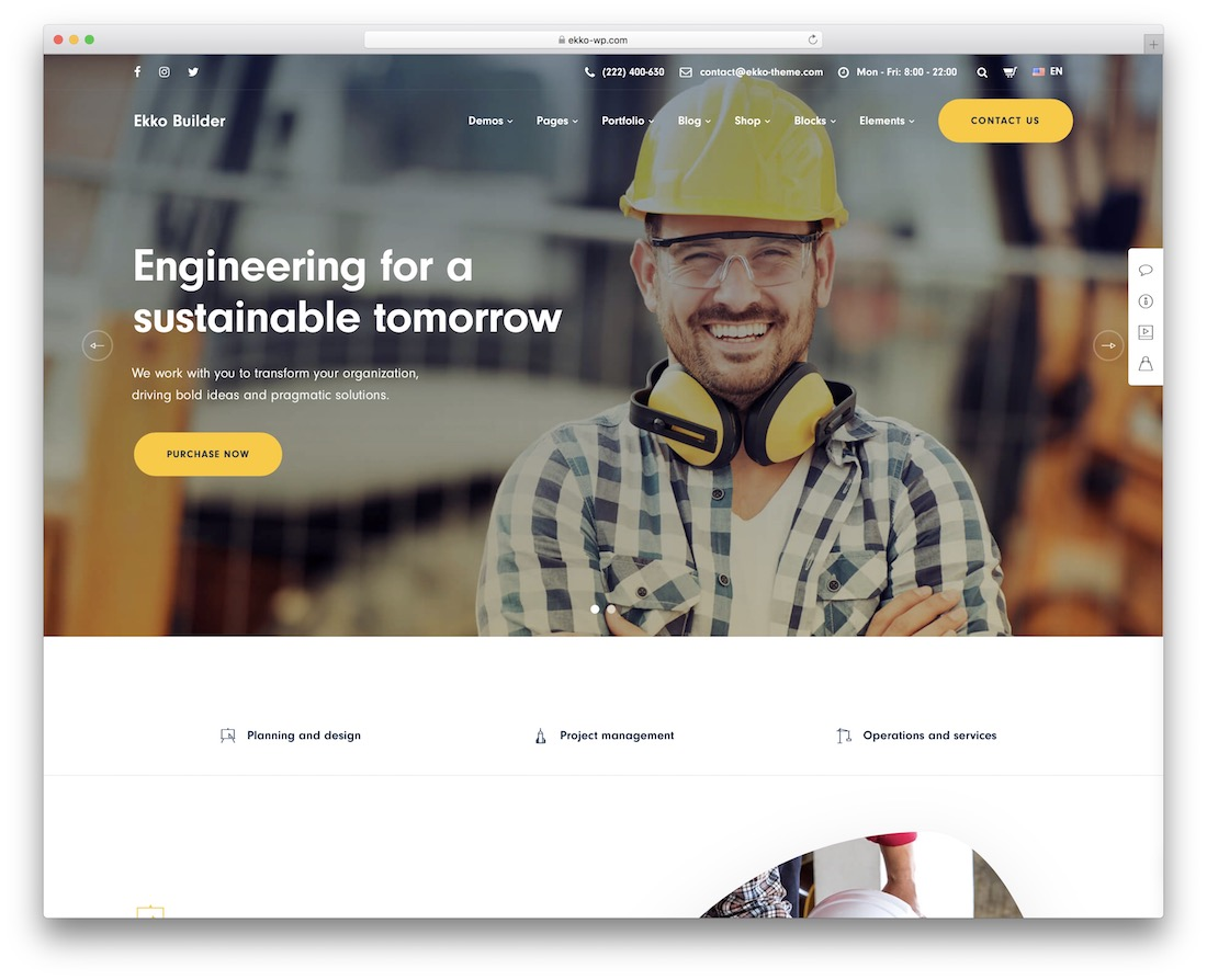 ekko construction company wordpress theme
