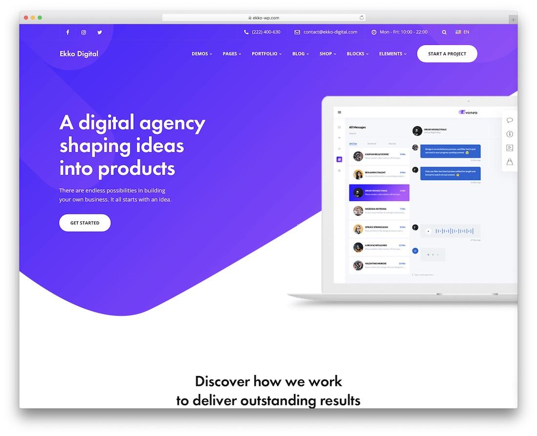 ekko creative agency wordpress theme