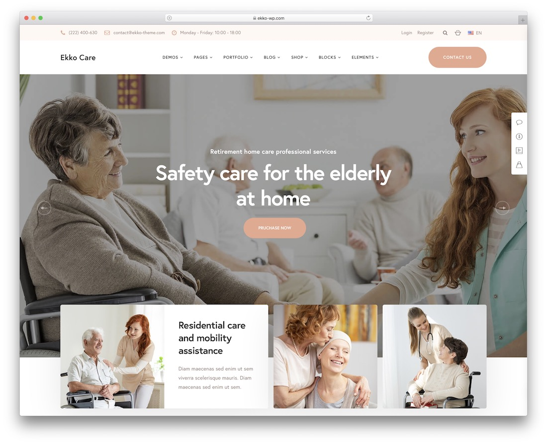 ekko elderly care wordpress theme
