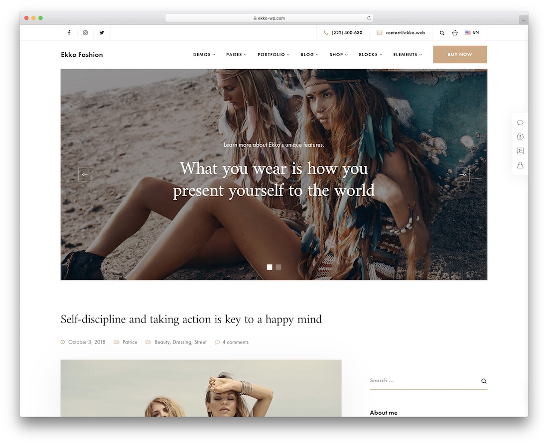 ekko fashion wordpress theme