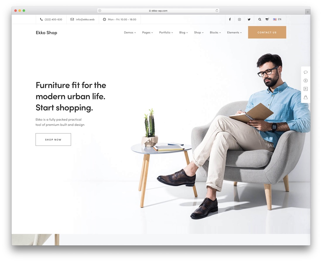 ekko furniture wordpress theme