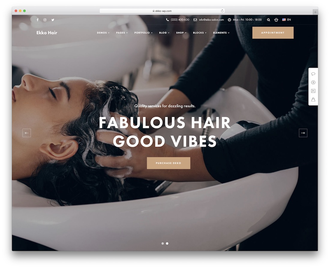 ekko hair salon wordpress theme