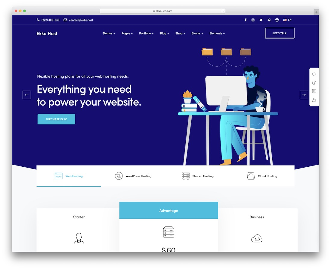 ekko hosting wordpress theme