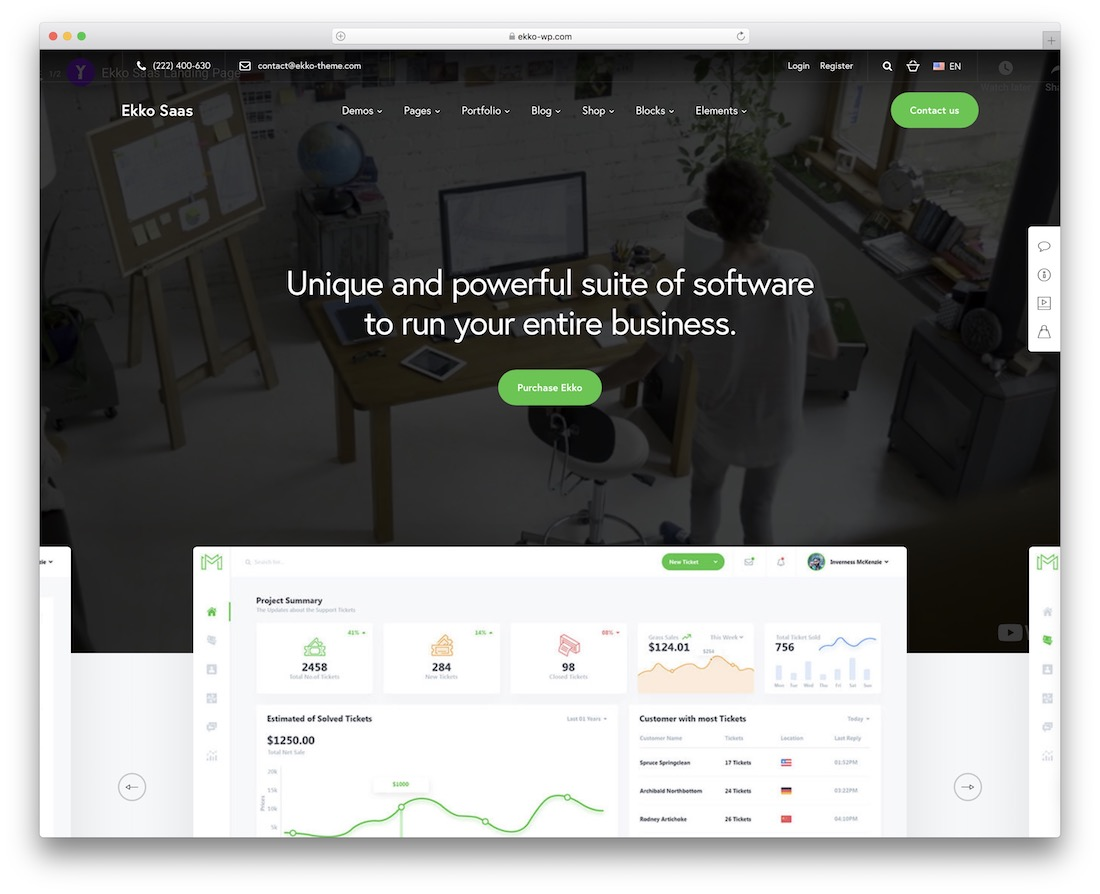 ekko landing page wordpress theme