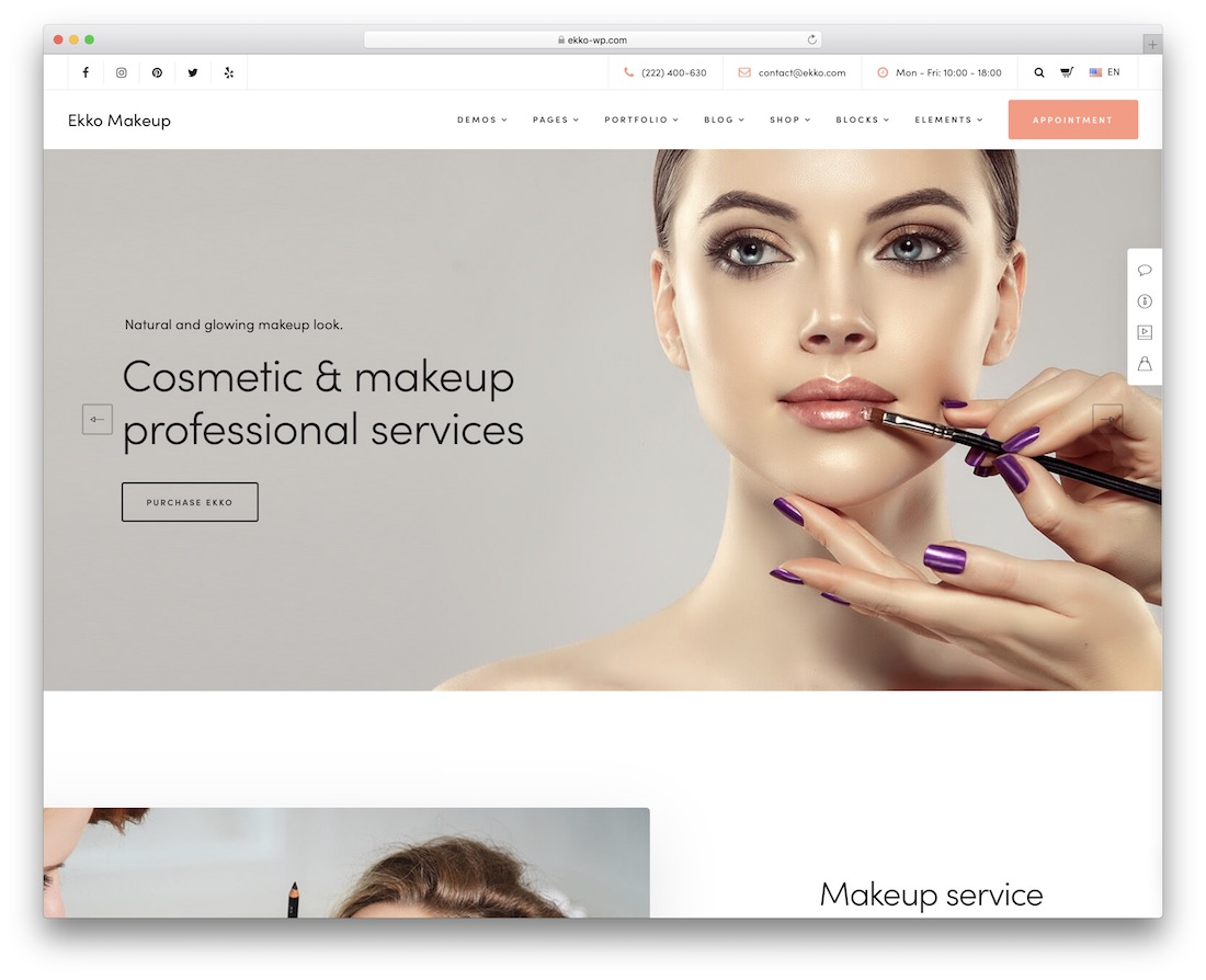ekko makeup artist wordpress theme