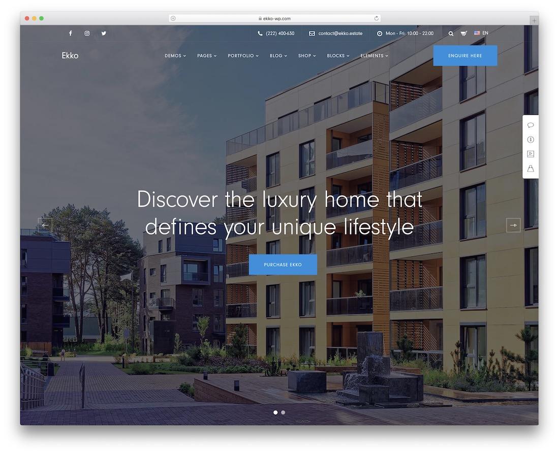 ekko property and real estate wordpress theme