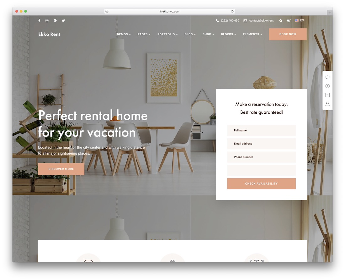 ekko property rental wordpress theme