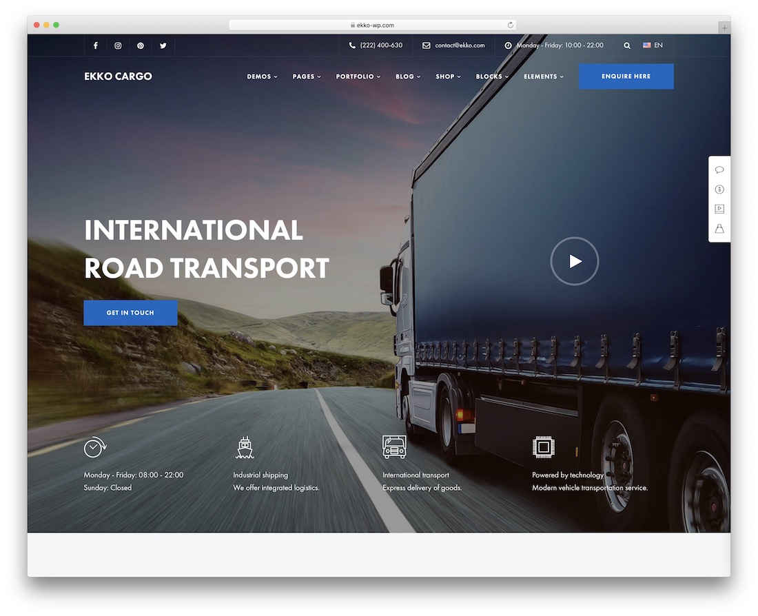 ekko transportation logistics wordpress theme