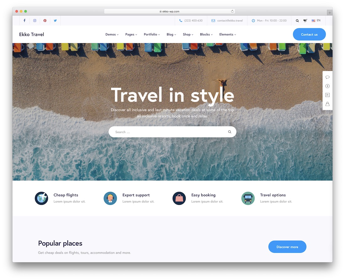 ekko travel agency wordpress theme