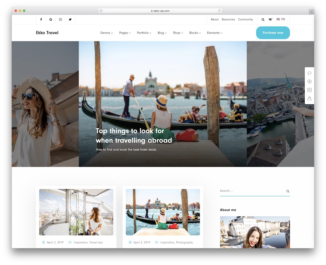 ekko travel magazine theme