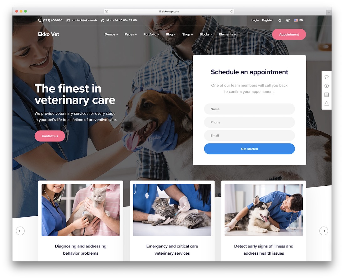 ekko veterinary wordpress theme