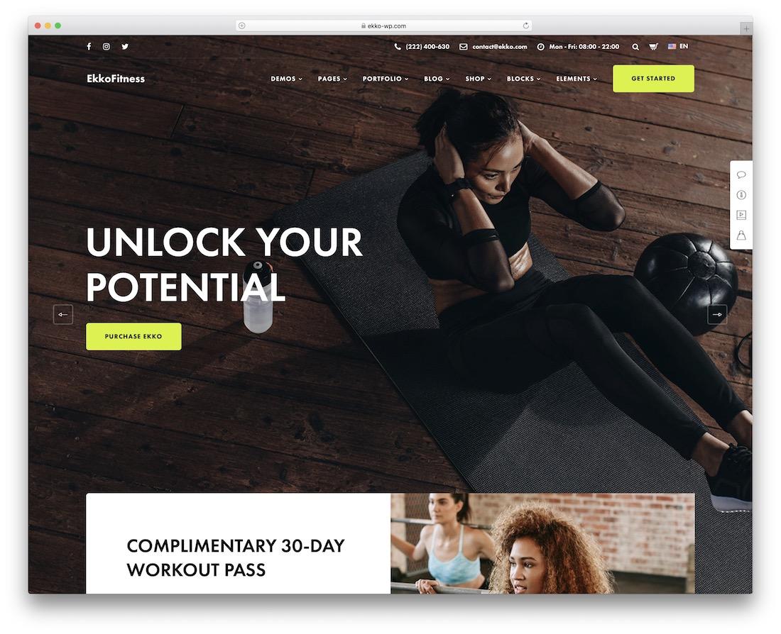 ekko wordpress fitness theme