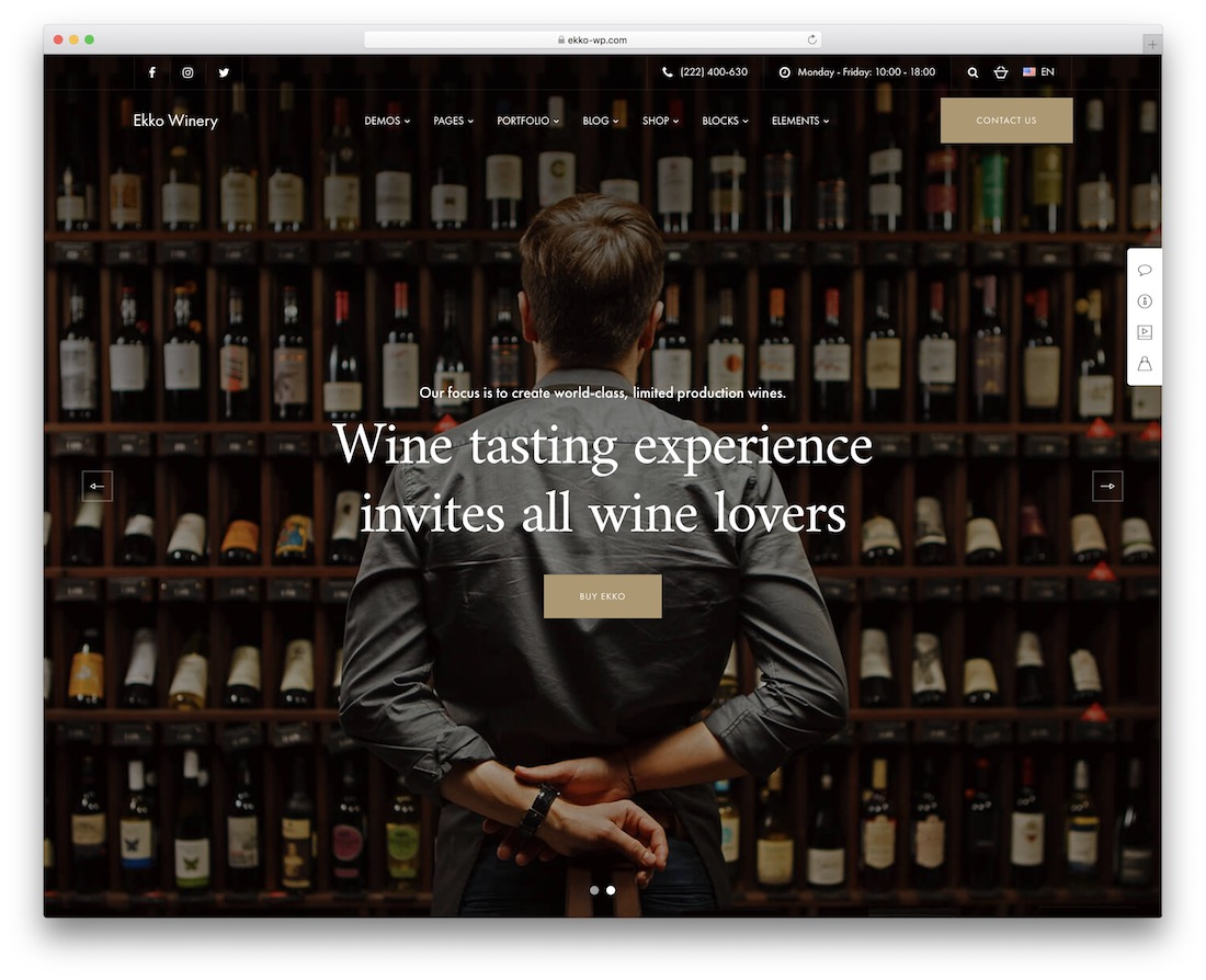 ekko wordpress templates for wineries