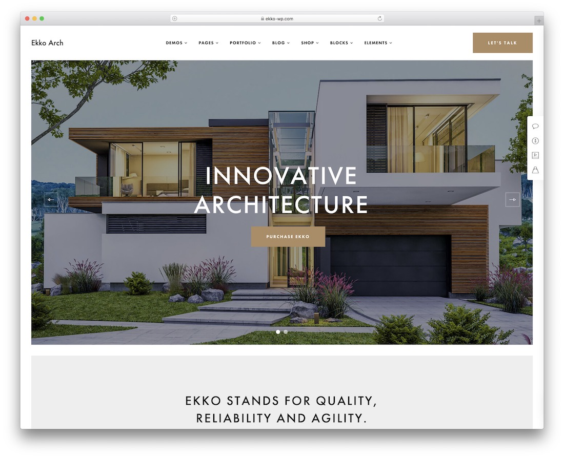 ekko wordpress theme for architects