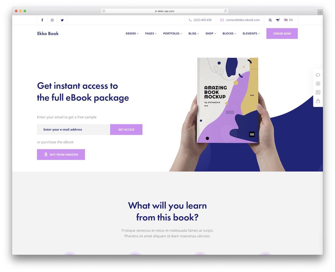 ekko wordpress theme for selling ebooks