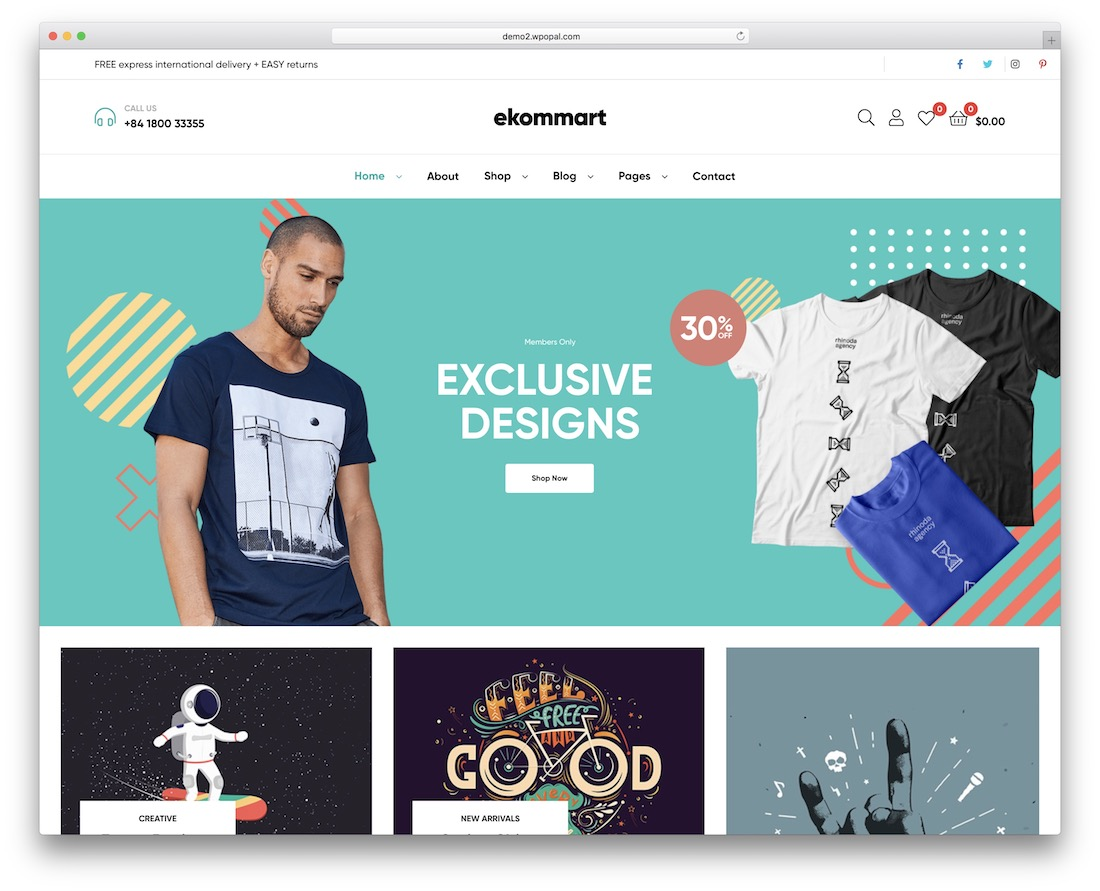 ekommart t-shirt store wordpress theme