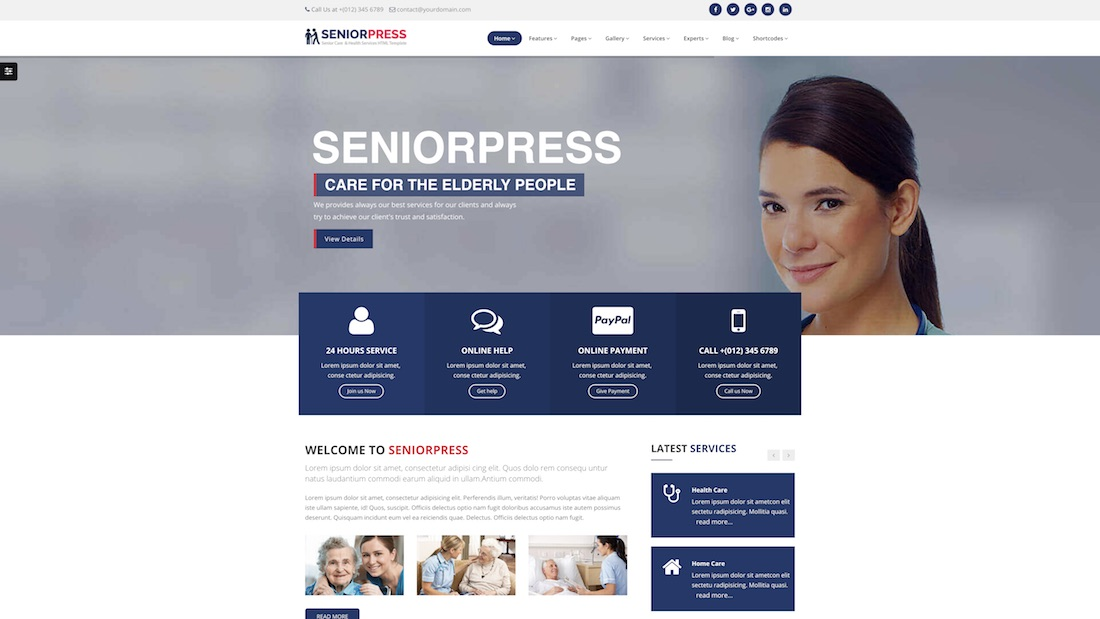 seniorpress elder care website template