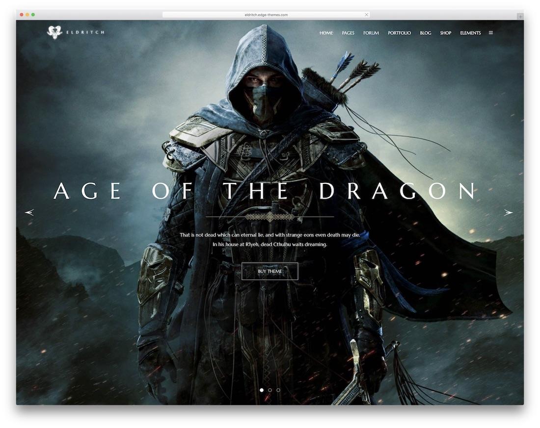 eldritch gaming html website template