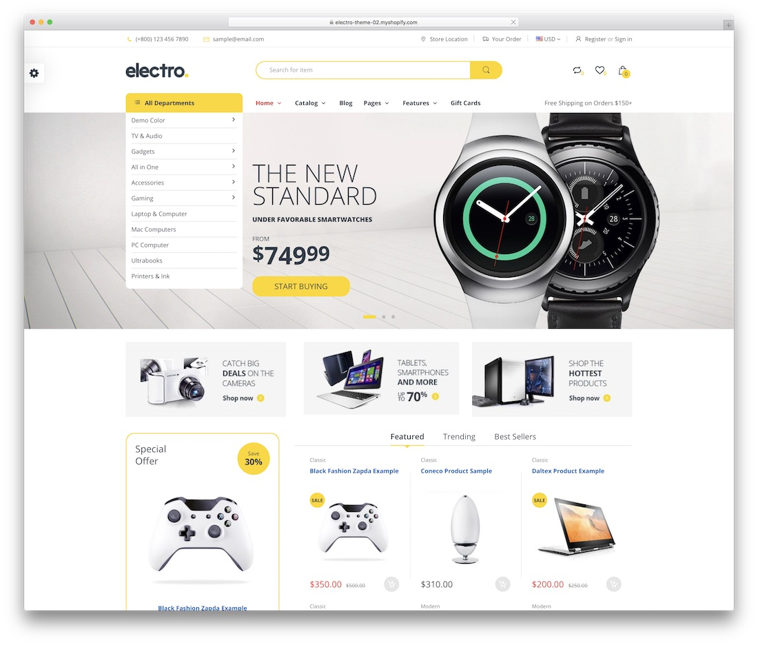 electro shopify technology theme