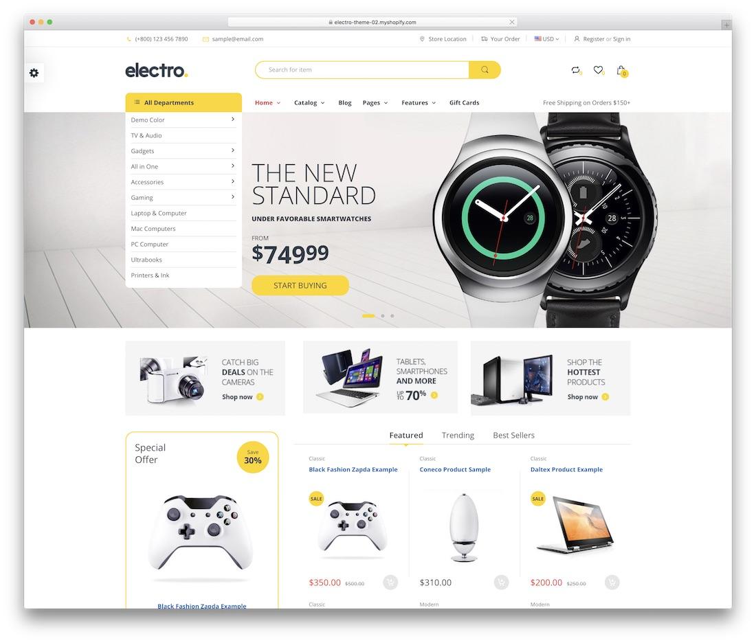 electro shopify technology theme