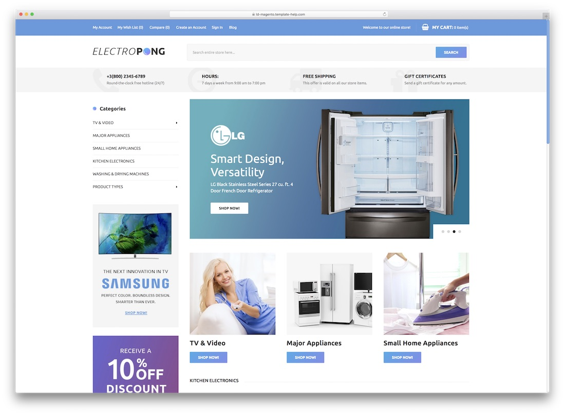 electropong magento technology theme