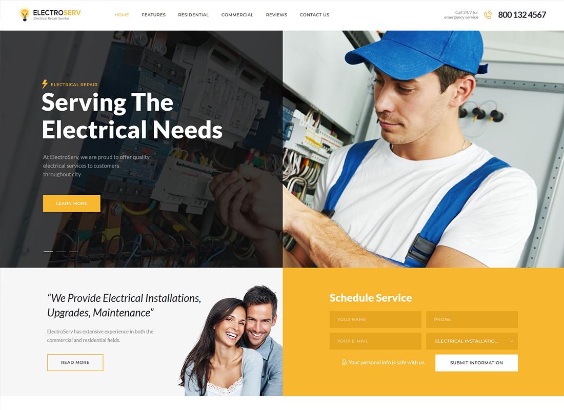 ElectroServ - Electrical Repair Service WordPress Theme