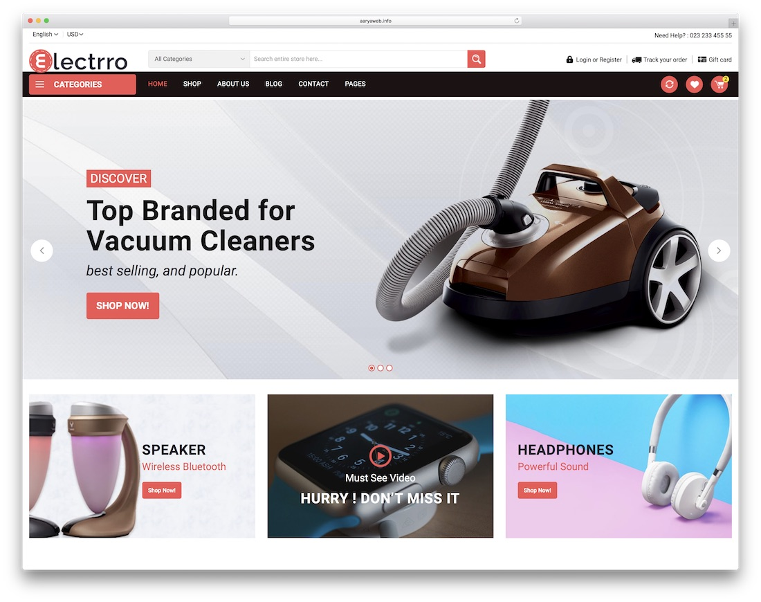 electrro ecommerce website template