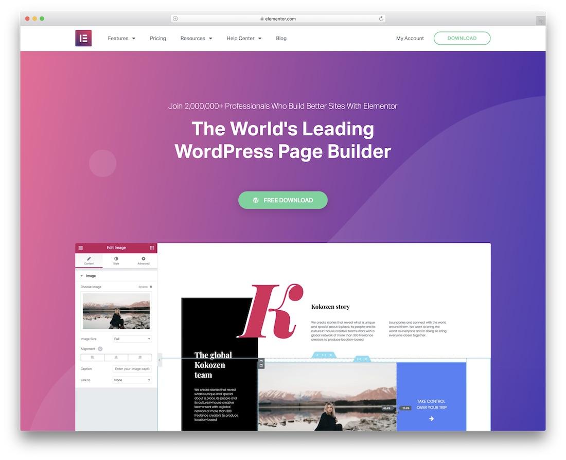 elementor community website builder
