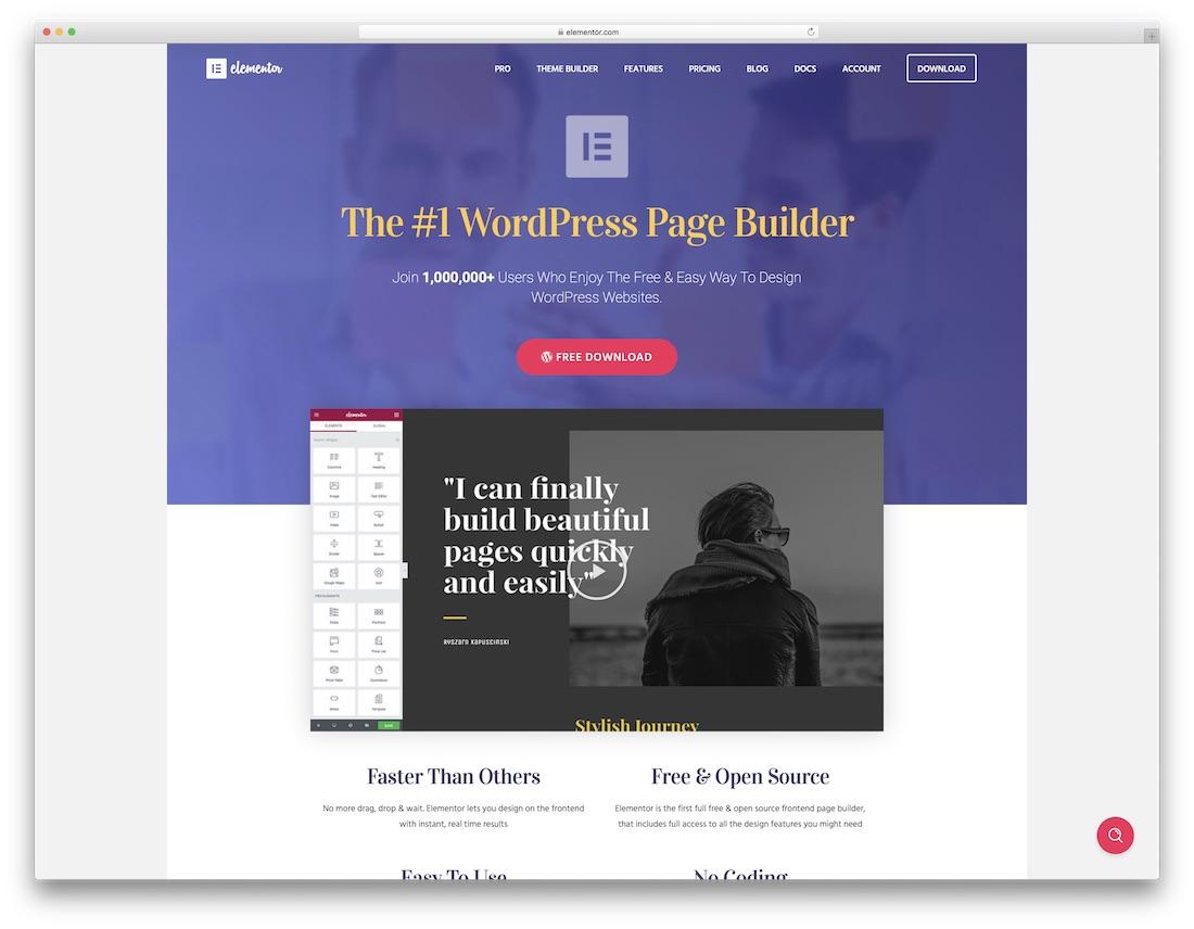 elementor drag and drop website builder