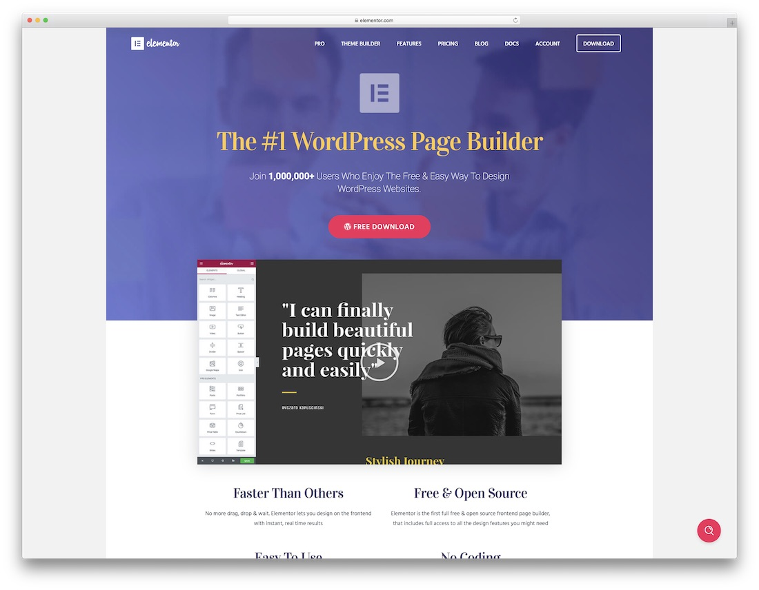 elementor free one page website builder