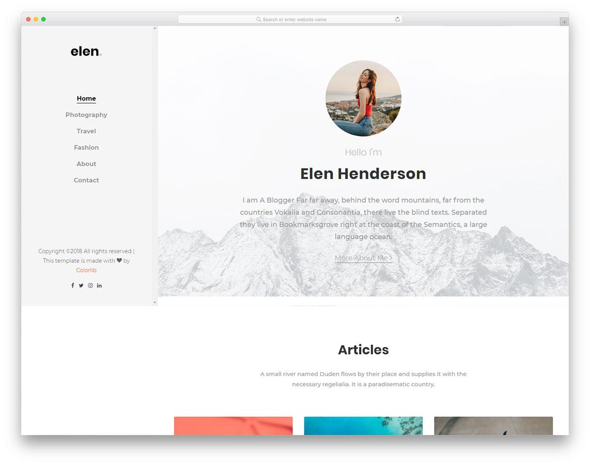 Скачать бесплатно html шаблон Elen