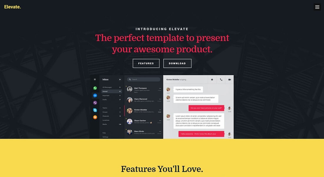 elevate free HTML website template