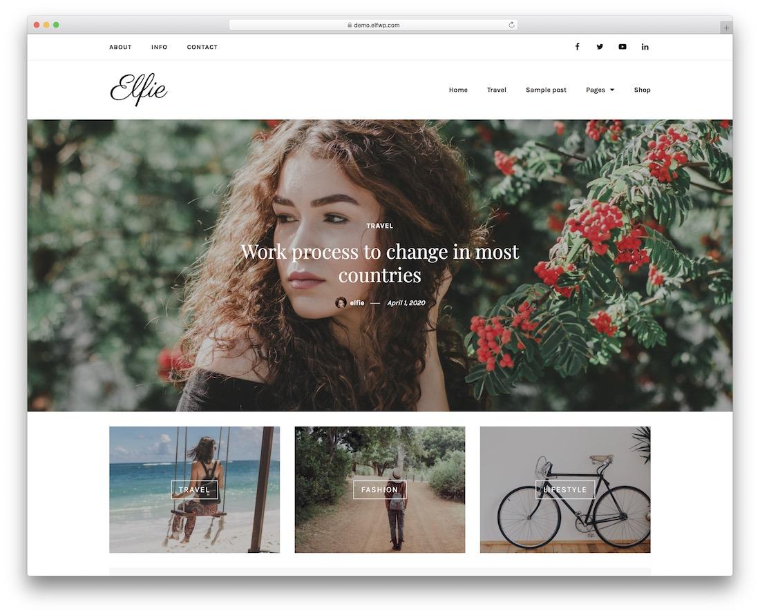 elfie free wordpress theme with slider