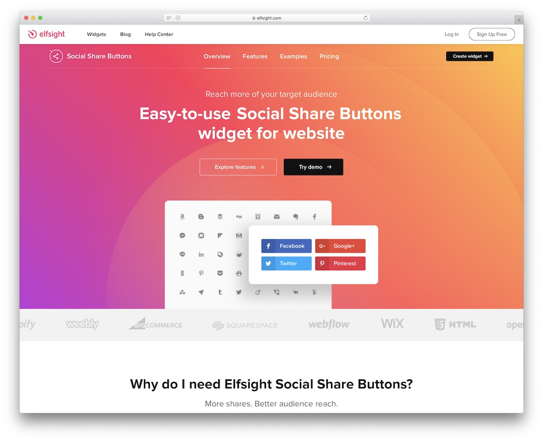 elfsight free social sharing button widget