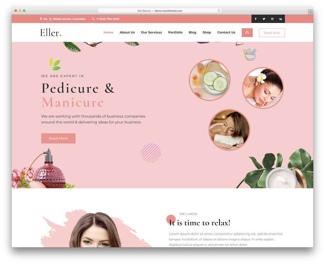 eller massage wordpress theme