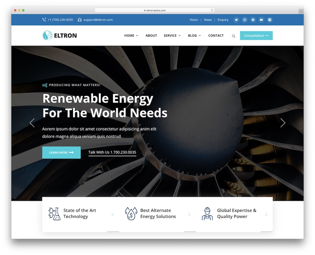 eltron alternative energy wordpress theme