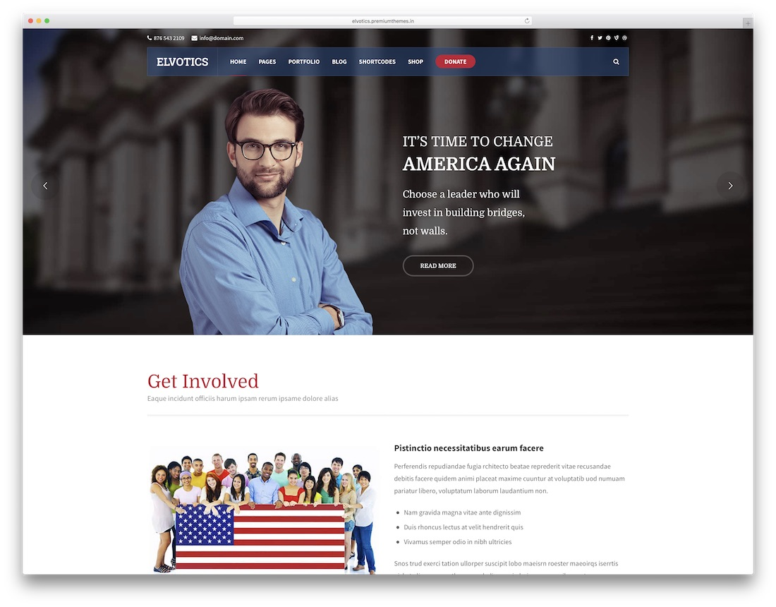 elvotics political wordpress theme for politicians