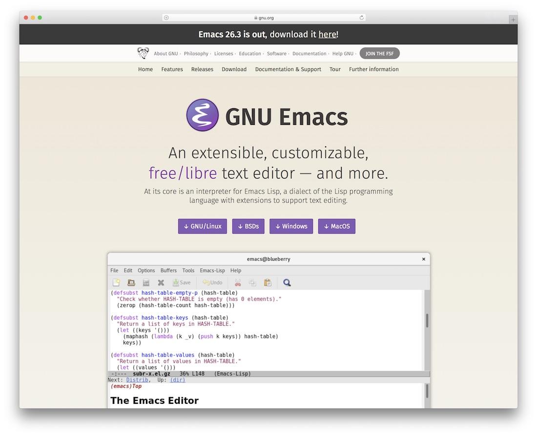 emacs code text editor