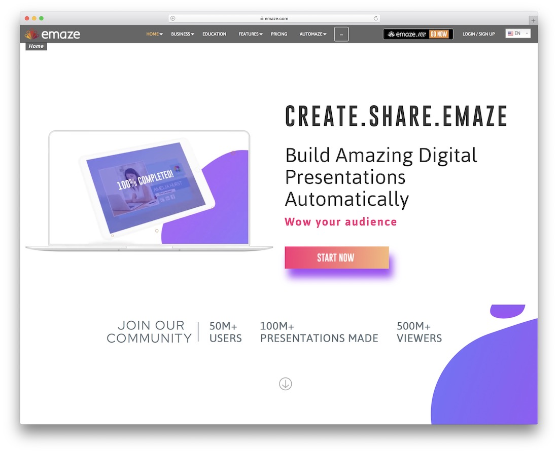 emaze tool for creating and sharing presentations