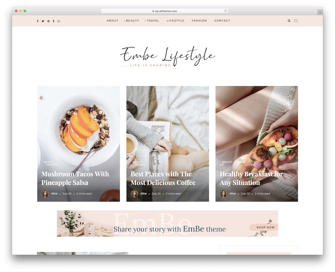 embe lifestyle blog theme