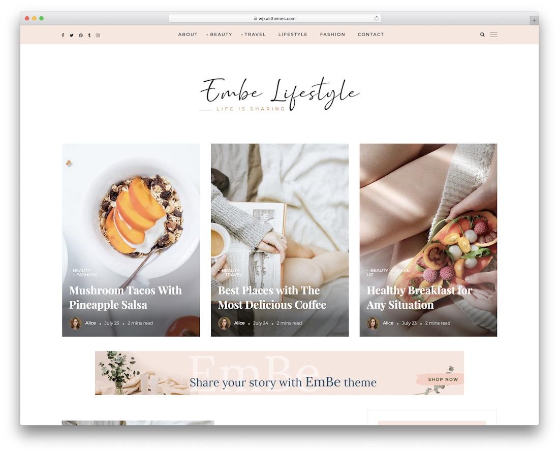 embe lifestyle wordpress theme