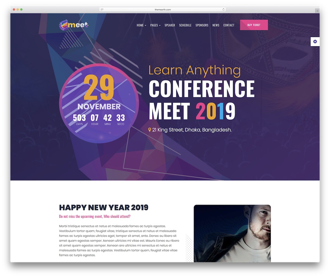emeet event website template
