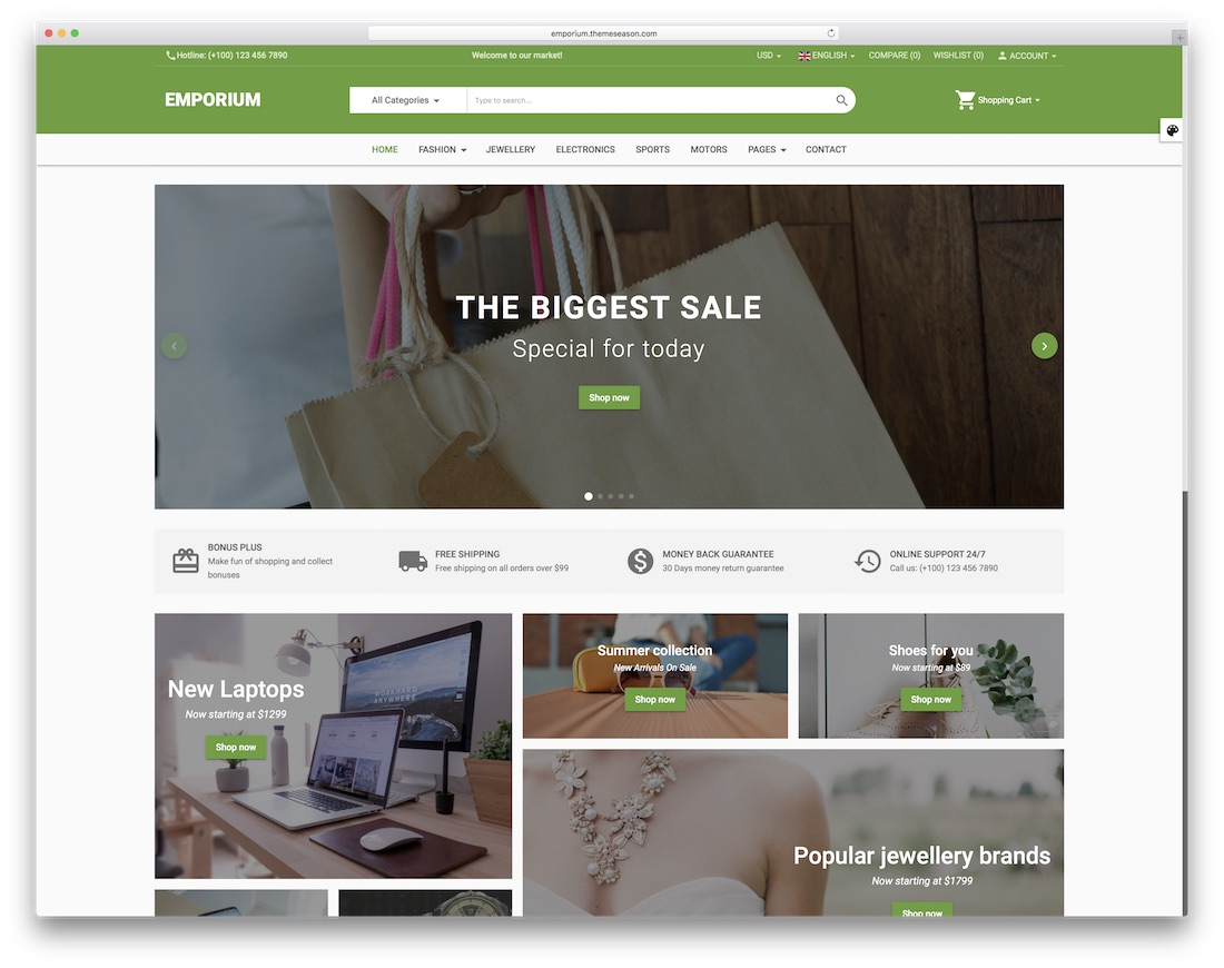emporium ecommerce website template