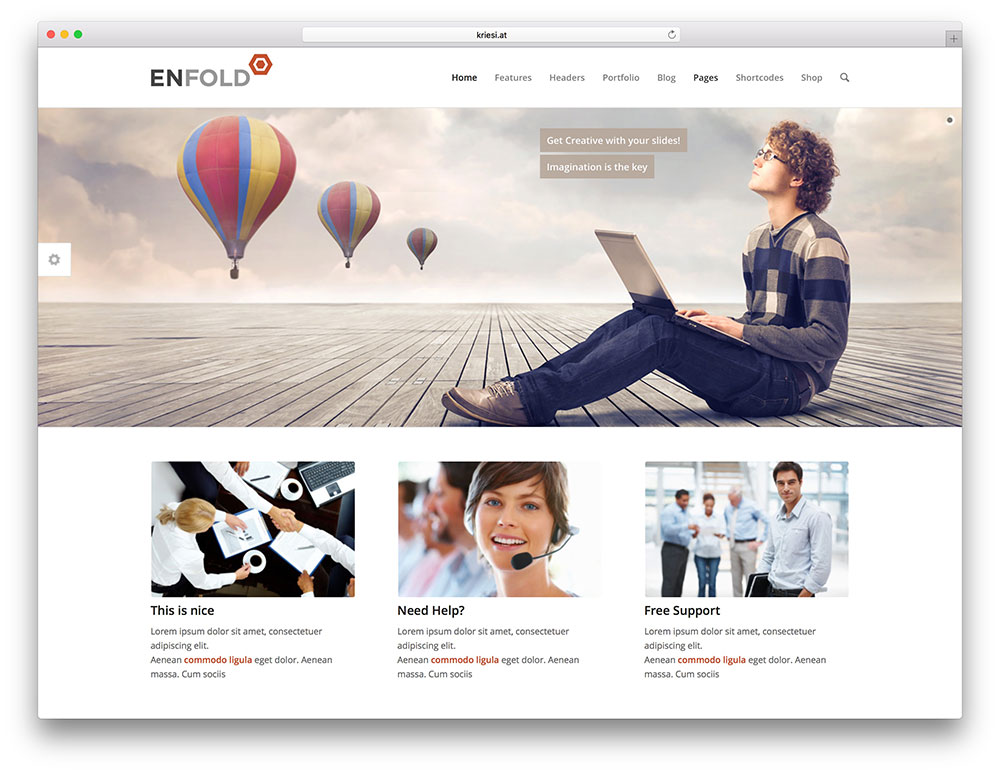 enfold - drag and drop wordpress theme