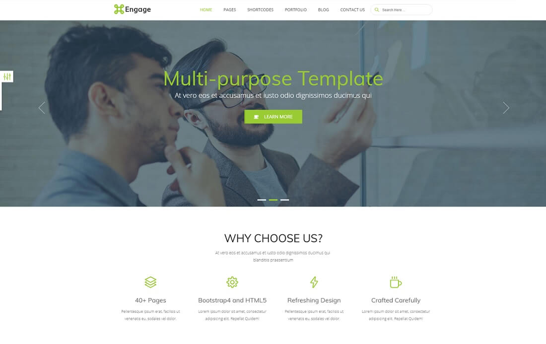 engage free bootstrap 4 website template