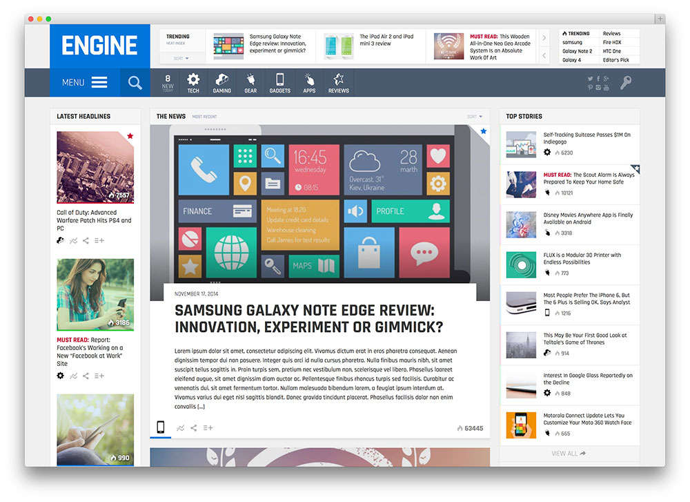 engine fullscreen gadget review theme